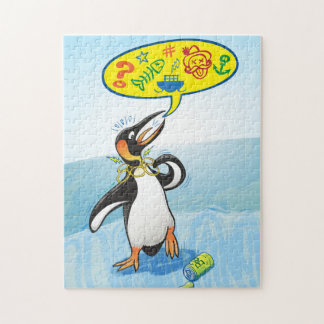 Desperate king penguin saying bad words jigsaw puzzle