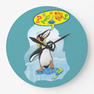Desperate king penguin saying bad words large clock