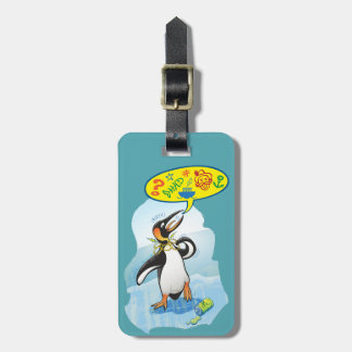 Desperate king penguin saying bad words luggage tag