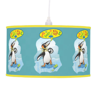 Desperate king penguin saying bad words pendant lamp