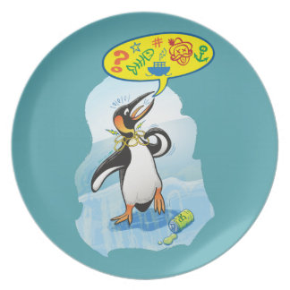 Desperate king penguin saying bad words plate