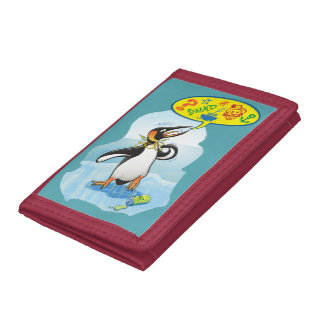 Desperate king penguin saying bad words trifold wallet