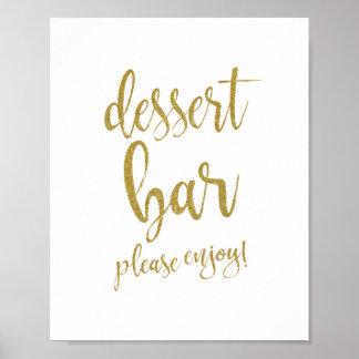 Dessert Bar Gold Glitter 8x10 Wedding Sign