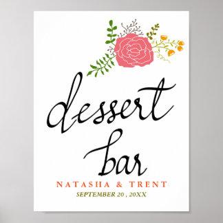 Dessert Bar Pink Flower Wedding Calligraphy Poster