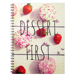 'Dessert First' vintage sweet photo notebook