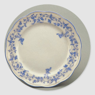 Dessert plate with colorful flower designs classic round sticker