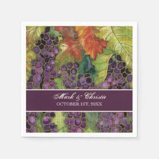 Dessert Reception Napkins Grape Vineyard Wedding Paper Napkins