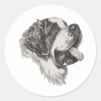 Dessin d'art de fusain de chien de St St Bernard Sticker Rond