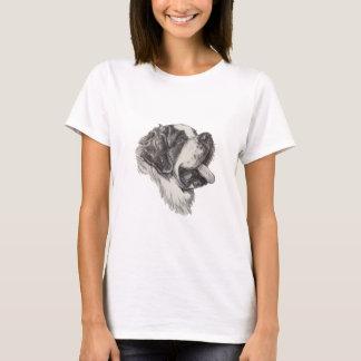 Dessin de portrait de profil de chien de St T-shirt