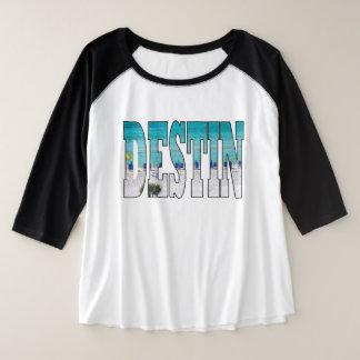 Destin Beach Photo Unique Typography Modern Plus Size Raglan T-Shirt