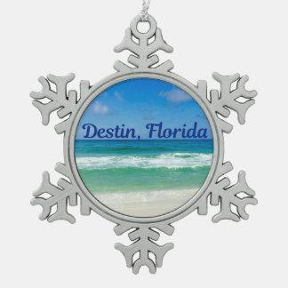 Destin Florida Beach Photograph Snowflake Pewter Christmas Ornament