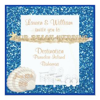 "Destination Beach Wedding Invitations BLUE CRYSTAL 5.25"" Square Invitation Card"