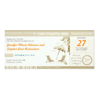 """destination boarding pass tickets save the date 4"""" x 9.25"""" invitation card"""