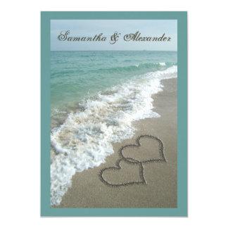 Destination de plage épousant 5x7, coeurs de sable carton d'invitation  12,7 cm x 17,78 cm