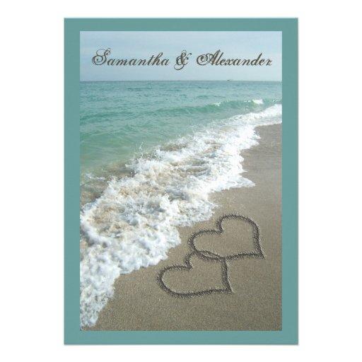 Destination de plage épousant 5x7, coeurs de sable cartons d'invitation personnalisés