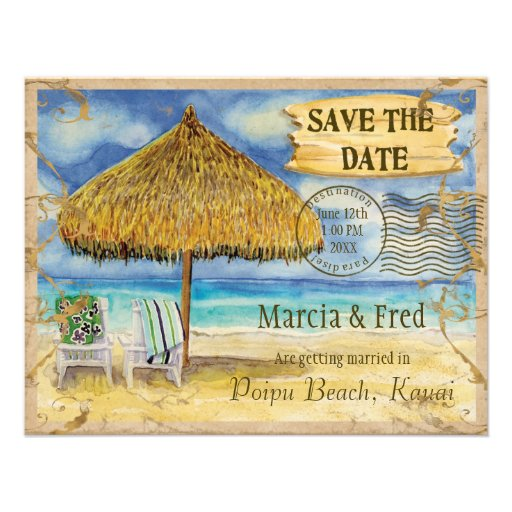 Destination Paradise, Tropical Beach Save the Date Invitations