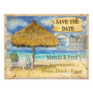 Destination Paradise Tropical Beach Save the Date Invitations