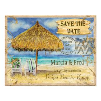 Destination Paradise Tropical Beach Save the Date Custom Announcement