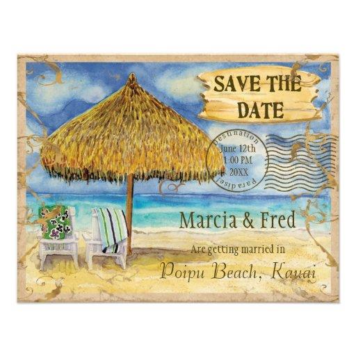 Destination Paradise, Tropical Beach Save the Date Custom Announcement