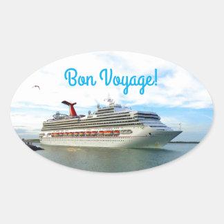 Destination Sunshine Bon Voyage Oval Sticker