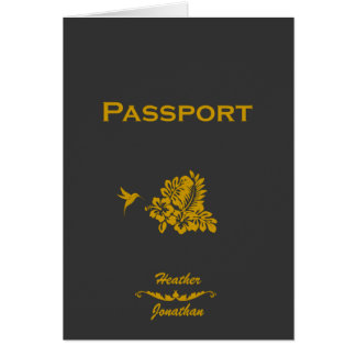 Destination Wedding Invitation Passport & Hibiscus Greeting Cards