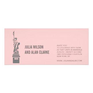 Destination Wedding Invitations New York Pink Grey