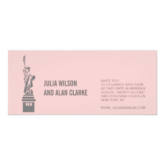 Destination Wedding Invitations New York Pink Grey