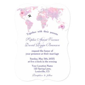 Destination Wedding Travel Watercolor World Map Card