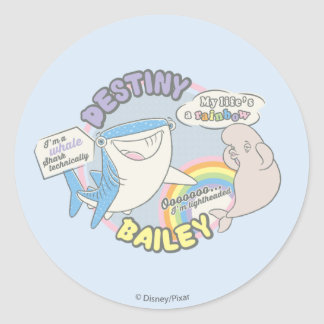 Destiny & Bailey Comic Graphic Round Sticker
