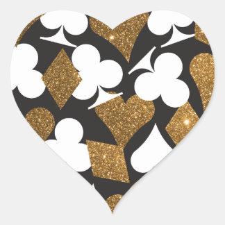 Destiny Las Vegas Heart Sticker Faux Gold Glitter