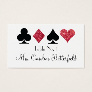 Destiny Las Vegas Red Faux Glitter Escort Card
