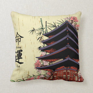 destiny luck kanji japanese pagoda cherry blossoms throw pillow