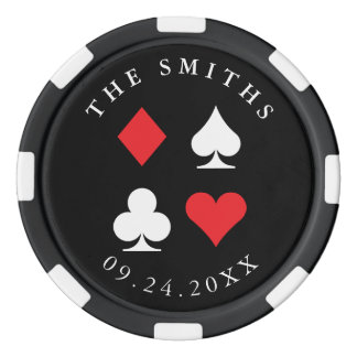 Destiny Personalized Wedding Favor Gift Black Red Poker Chips