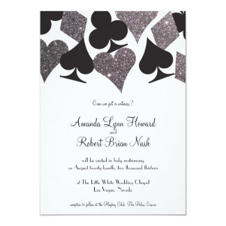 Destiny Vegas Wedding Invite Faux Silver Glitter