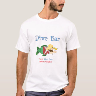 Destroyed Dive Bar, Ladies Blue T-Shirt