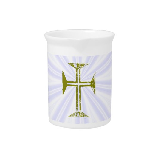Destroyed Look Faux Gold Cross White Streaks Beverage Pitcher