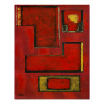 Detached Abstract Geometric Art Red Black Painting Poster