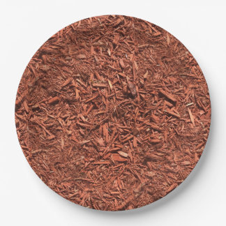 detail image of red cedar mulch for gardener paper plate