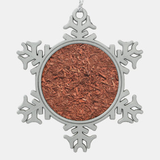 detail image of red cedar mulch for gardener pewter snowflake ornament