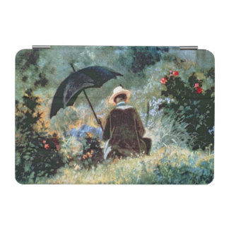 Detail of a Gentleman reading in a garden iPad Mini Cover