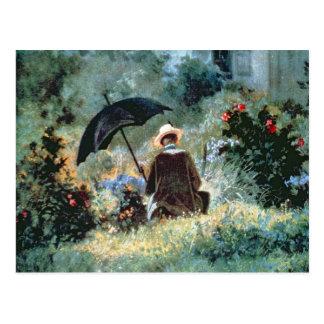Detail of a Gentleman reading in a garden Postcard