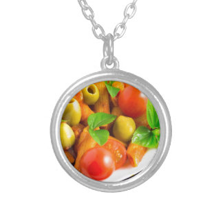 Detail of a plate closeup Italian pasta penne Silver Plated Necklace