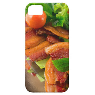 Detail of a plate of fried bacon and cherry tomato iPhone 5 cover