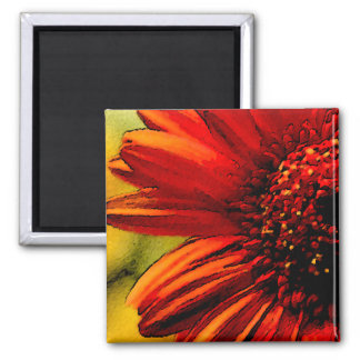 Detail of a Red Flower Square Magnet