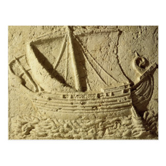 Detail of a relief of a boat, from a sarcophagus postcard