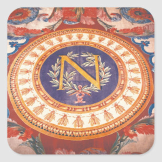 Detail of a rug with the 'N' of Napoleon I Square Sticker