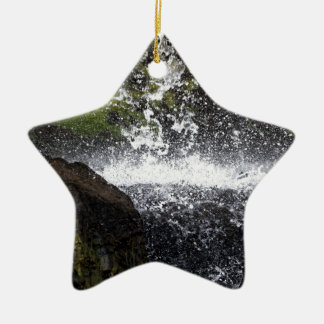 Detail of a small waterfall ceramic ornament