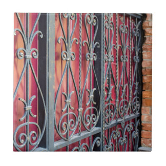 Detail of an old building with an iron fence tile