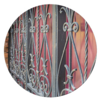 Detail of an old iron fence party plate