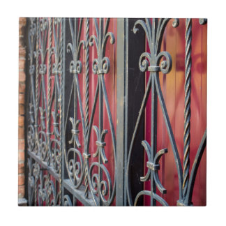 Detail of an old iron fence tile